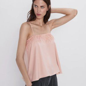 Zara spaghetti tank  top with feathers on front